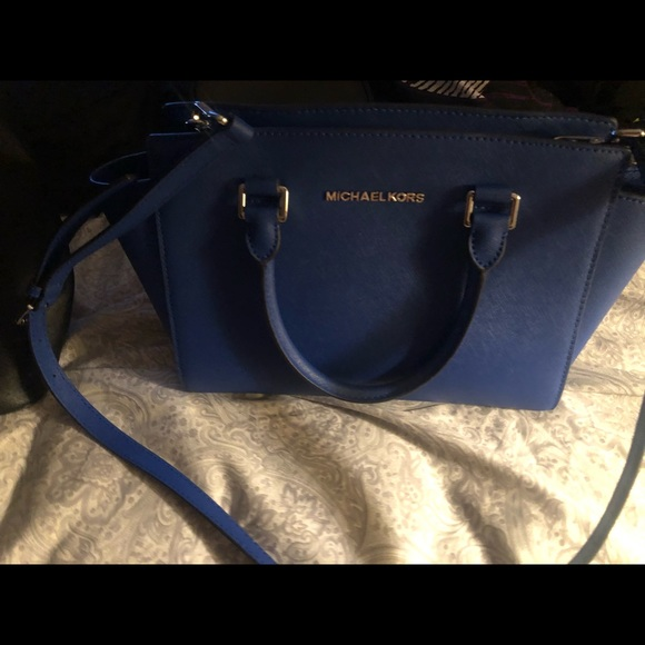 Michael kors leather bleu purse